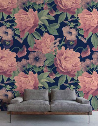 tapet-personalizat-dormitor-flori 2 design interior
