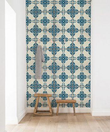 tapet Vintage Blue Tiles