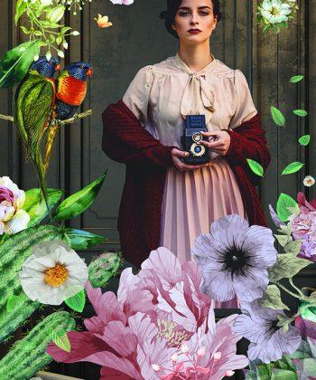 Fototapet păsări și flori
