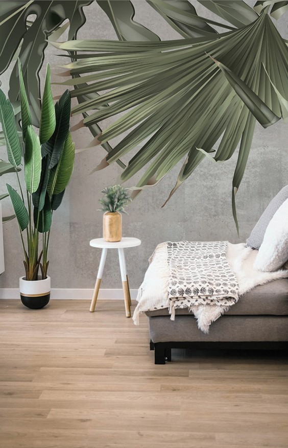 Green Giants Tapet living room frunze tropicale